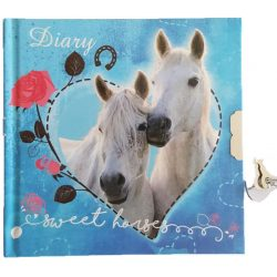 Lovas napló kulccsal 13*13 cm, fehér lovakkal