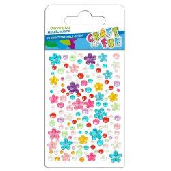 Strasszkő mix, öntapadós, kör és virág alakú, vegyes színek