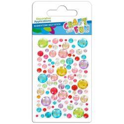 Strasszkő mix, öntapadós, kör alakú, sokféle méret, vegyes színek