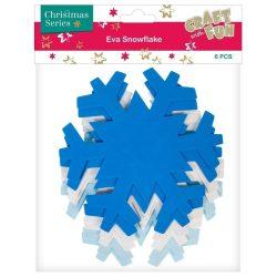 Dekorgumi forma, díszíthető, hópehely, 6 db-os