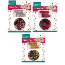 Karácsonyi dekorációs alapanyagok, 3 féle (csillámpor, színes konfettikkel)