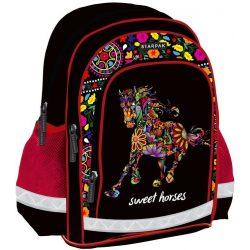 Lovas hátizsák 39 cm, piros-fekete