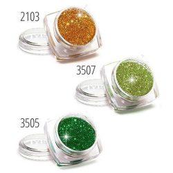 Csillámpor készlet, 3 db-os, zöld, arany