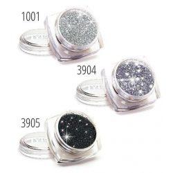 Csillámpor készlet, 3 db-os, ezüst, fekete
