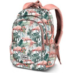 Flamingó hátizsák, iskolatáska, 44 cm, USB csatlakozóval