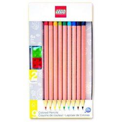 Lego színes ceruza készlet, 9db-os, 2db Lego ceruzadísszel