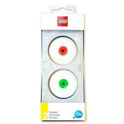 Lego radír, 2db-os, piros-zöld